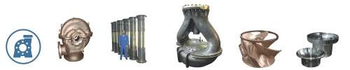 Sand castings and centrifugal castings for pumps