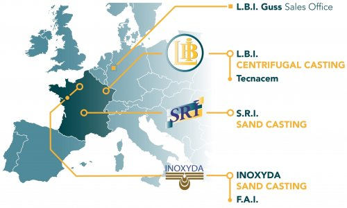 Localisation map of the LBI subsidiaries